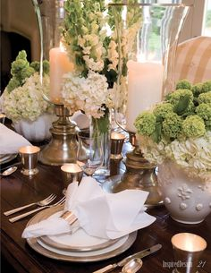 Beautiful: How to set a table, Greens & White....great for upcoming Easter
