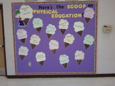 Title of Bulletin Board: Here's the Scoop    Category: Beginning of School    Suggested Grade Level: All    Materials: butcher paper, border, cut out or printed letters, pictures of ice cream cones    Description:    This is a fun way to introduce what will be taught in P.E. during the school year.