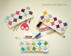 great for other collections of small things, such as crochet needles! Crochet Pencil Case, Crochet Pouch, Crochet Buttons, Crochet Purses, Crochet Gifts, Crochet Squares, Crochet Motif, Crochet Hooks, Kawaii Crochet