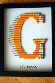 Personalized Teacher Gift: Framed Monogram in 2 by TooCoolChicks