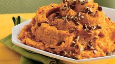 Sweet potatoes become even more delicious with the addition of maple-flavored syrup, nutmeg and pecans.