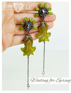 green gemstone earrings genuine swarovski artisan by RebelSoulEK