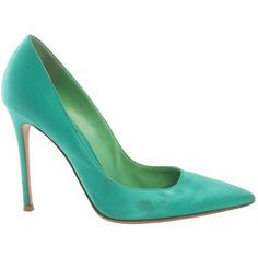 Pre-owned Gianvito Rossi Cloth Heels ($232) ❤ liked on Polyvore featuring shoes, pumps, green, women shoes heels, satin pumps, gianvito rossi pumps, pre owned shoes, pointed toe shoes and pointy toe shoes
