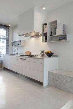 white and marmer kitchen