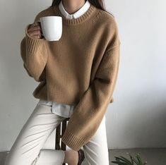 brown wool jumper white trousers shirt clothes korean fashion spring school outfits street everyday casual comfy aesthetic soft minimalistic kawaii cute g e o r g i a n a : c l o t h e s Mode Outfits, Korean Outfits, Casual Outfits, Fashion Outfits, Fashion Tips, Fashion Ideas, Fall Outfits, Fashion Clothes, Lifestyle Fashion
