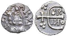 File:Denier d'Ebroïn au nom du monétaire Rodemarus frappé à Paris: indice de sa puissance, voici le monogramme d'EBROÏN, maire du palais