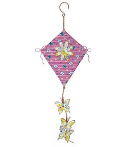 Metal Kite with Daisy Sculpture (Set of 2)