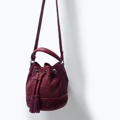 WOVEN LEATHER DRAWSTRING BAG-Messenger bags-Handbags-WOMAN | ZARA United Kingdom