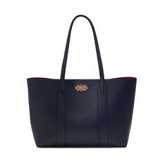 Mulberry - Bayswater Tote in Oxford Blue & Scarlet Small Classic Grain