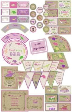 Dinosaur Birthday Party Decor Girl Pink Purple Large Pack Set Package - Digital Printable by SweetPapermint on Etsy https://www.etsy.com/listing/103597359/dinosaur-birthday-party-decor-girl-pink