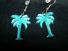 Teal Green Palm Tree Earrings  Mirror Acrylic by AnitaHeras, $10.00