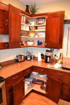 kitchen easy reach corners = zero watsed space from Kitchen Corner Cabinet Ideas