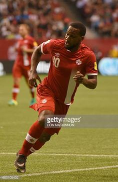 Junior Hoilett of Canada runs on the field during the World Cup 2018 football qualification match between Canada and El Salvador in Vancouver on...
