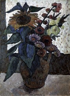 "Paula Modersohn-Becker (German, 1876-1907) - ""Stillleben mit Sonnenblumen, Stockrosen und Georginen"" (Still life with sunflowers, hollyhocks and dahlias), 1907 - Kunsthalle Bremen, Germany"
