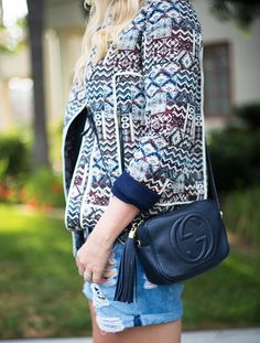 printed jacket, Gucci bag & ripped denim shorts #style #fashon