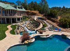Pool Designs With Waterfalls And Slides artificial rock slides for swimming pools | for the home