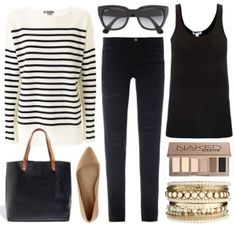fall outfit | black, tan & stripes by leanne