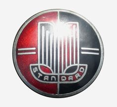 Standard Vanguard Phase 1 and 2 mid badge fitted to the hubcaps. Marked Ming Ware B'ham to the reverse. Car Badges, Car Logos, Detroit Motors, Motor Company, Buick Logo, Automobile, British Car, Cars, Script