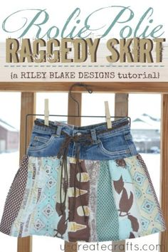 Make a skirt out of old jeans and scraps of fabric.