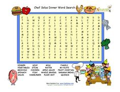 Dinner themed word search for children. Puzzle has 15 dinner words for elementary school children reinforcing the importance of a healthy dinner every night.