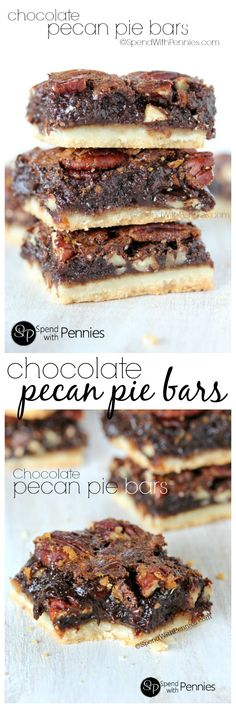 Chocolate Pecan Pie Bars are one of our favorite treats! Chocolate Pecan Pie Bars are one of our favorite treats! A shortbread crust topped with gooey pecan filling these squares are rich & chocolatey! Sweet Desserts, Just Desserts, Sweet Recipes, Delicious Desserts, Cookie Recipes, Dessert Recipes, Bar Recipes, Pecan Pie Bars, Shortbread Crust