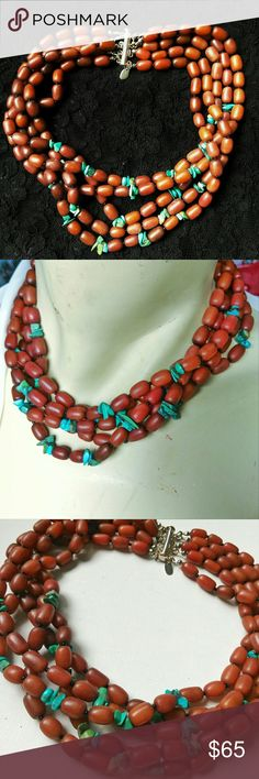 Chunky Sterling Toni Turquoise Collar Necklace Very showy and chunky. Turquoise and faux coral beaded 5 strand collar necklace. Signed and has a Sterling Silver clasp. Very boho and great for office also! Toni Jewelry Necklaces