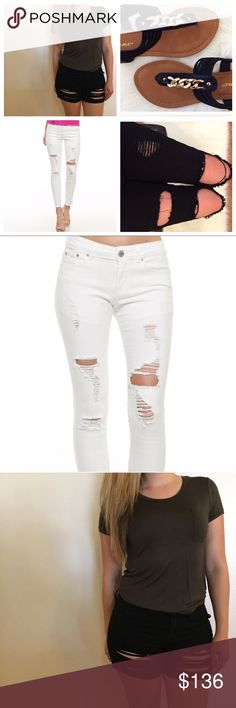 Ripped Skinnies, Destroyed Shorts, & Black Sandals White Ripped Skinny Jeans. Size 3. Black Destroyed Skinny Jeans. Size 3. Black Destroyed Shorts. Size M. Black Chain Link T-Strap Sandals. Size 7.5.   Full Price: $182  20% off Bundle: $145.60 ShopBossyJocey Jeans Skinny