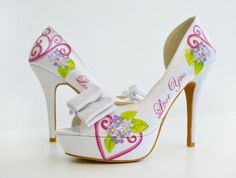 Wedding Shoes  Bridal Shoes  Hand painted Heels  by PonkoWorld, $230.00