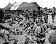 101st Airborne taking a rest near the medic tents
