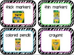 I'm making these labels for my plastic shoeboxes full of Kinder supplies!