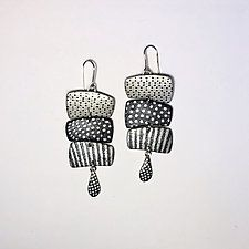 """3 Horizontal Map Chains by Louise Fischer Cozzi (Polymer Clay Earrings) (2.5"""" x 1.13"""")"""