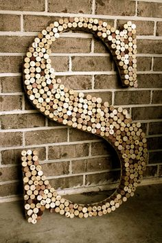 huge diy cork letter-Maybe a smaller version. Bretts initial out of bud light tops?