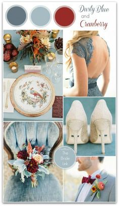 Fall Wedding Color Ideas - Dusty Blue and Cranberry