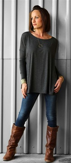 CAbi Fall '13 Bateau Neck Tee, Ink Ruby and Ink Ruby Jean with brown boots.