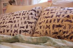 Insect Print on Pillowcases. $40.00, via Etsy.