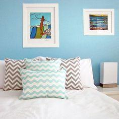 Grey Chevron Cushions + Waves Mint Cushions
