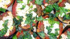 This easy Bruschetta Recipe is made with pesto, fresh tomatoes, olive oil, goat cheese, a sprinkle of arugula & a drizzle of balsamic vinegar. Easy Bruschetta Recipe, Pesto Recipe, New Recipes, Salad Recipes, Vegetarian Recipes, Italian Pasta Recipes, Ricotta, Creative Food, Vegetable Pizza