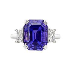 Betteridge Emerald-Cut Purple Sapphire & Diamond Ring