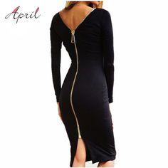 ボディコンシースドレスリトルブラックロングスリーブパーティードレス女性服バックフルジッパーローブセクシーなファム鉛筆タイトなドレス