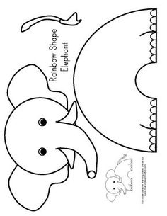 Elephant coloring pages for kids preschool crafts for Elephant template for preschool