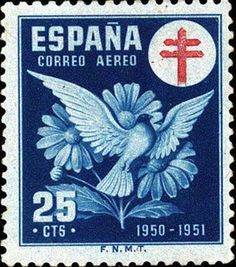 Stamp: Dove and Daisies (Spain) (Pro-tuberculosis) Mi:ES ZC54,Sn:ES RAC11,Yt:ES PA247,Edi:ES 1087