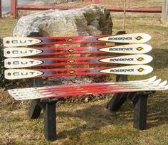 Make a bench out of the old skis