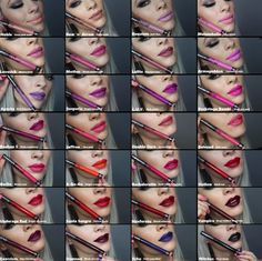 Kat Von D's Everlasting Liquid Lipstick Here's a chart I made using screenshots… Kat Von D Makeup, Kat Von D Lipstick, Lipstick Swatches, Makeup Swatches, Lipstick Shades, Lipsticks, Sephora Liquid Lipstick, Sephora Lip Stain, Makeup Inspo