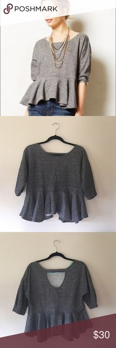 "Anthropologie peplum sweater top This cozy yet classy piece is by Saturday Sunday for Anthropologie. Super flattering, open back adds a twist. Pair with dark jeans and a chunky necklace! 22"" long, fluttered bottom. Anthropologie Tops"