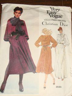 80s Vintage UNCUT Vogue Christian Dior Pattern 2023 Bust 31.5 Dress 2  Lengths  80sVogueParisDesignerDress Bow 7228f8e40
