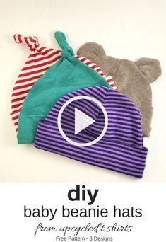 Hat Patterns To Sew, Sewing Patterns Free, Knitting Patterns, Free Sewing, Free Knitting, Baby Knitting, Recycled Shirts, Baby Beanie Hats, Diy Dress