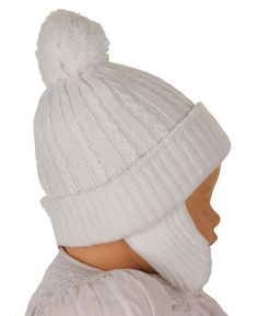 NEW Sarah Louise White Cable Knit Hat with Ear Flaps $25.00