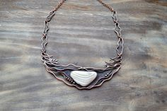 Copper necklace with silicon, gray, waves