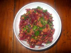 This red lentil salad is combined with beetroot, vegetable stock and a few other tasty ingredients to form a delicious vegetarian main meal that is quick and easy to prepare. Red Lentil Salad, Vegetarian Main Meals, Vegetable Stock, Beetroot, Lentils, Tasty, Beef, Vegetables, Recipes
