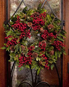 Pine & Berry Silk Wreath at Petals Christmas Door, All Things Christmas, Winter Christmas, Christmas Holidays, Christmas Crafts, Christmas Decorations, Berry Wreath, Holiday Wreaths, Christmas Inspiration